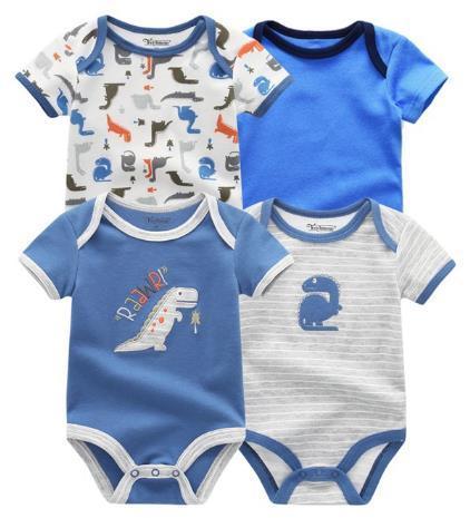 4PCS/Lot Baby Romper Boy Girls Short Sleeves Cute Print Summer Clothing Set Roupa Menina Cotton Newborn Clothes