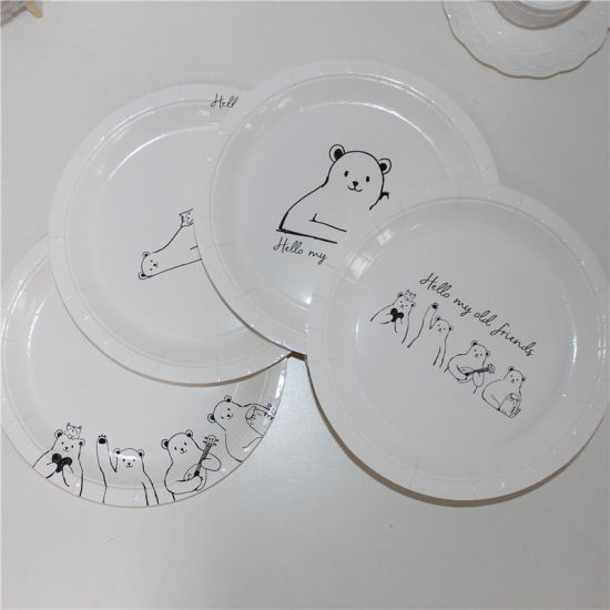 2017 New Design Cute Bear Printing of 9\  Paper Plate & China 2017 New Design Cute Bear Printing of 9\
