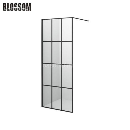 Black Simple Tempered Glass Bathroom Corner Room Screen Shower Cabin