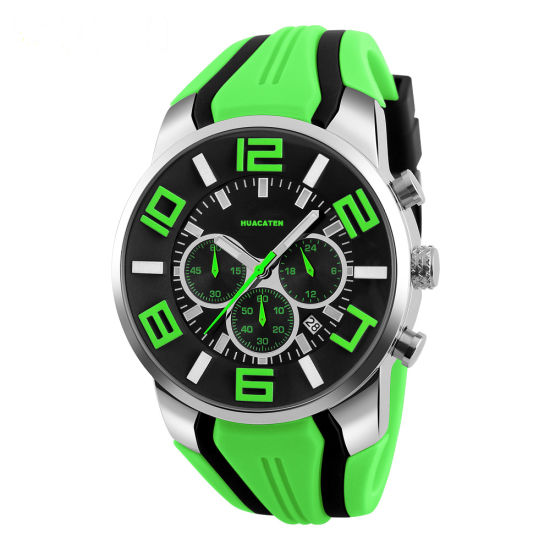 Men Waterproof Quartz Movement Sport Wrist Watch with Plastic Band