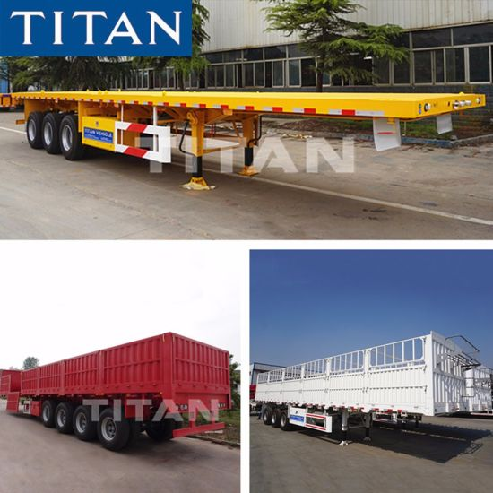 Titan 20/40FT Container/Utility/Cargo Flatbed/Platform/Sidewall/Fence Flat Bed Tractor Truck Semi Trailer