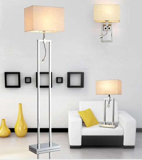 So Practical Modern Chrome Bedside 3W LED Wall Sconces Lamp Lights with Fabric Shade for Hotel or Home Bedroom pictures & photos