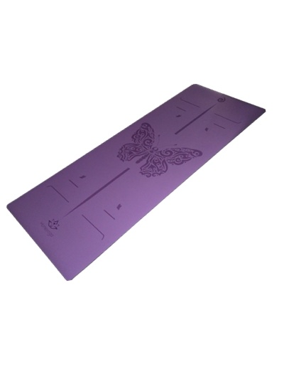 Laser Etching Eco-Friendly PU Yoga Mat, Purple Rubber Yoga Mat pictures & photos