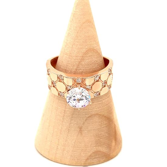 Wholesale 925 Sterling Silver Rose Gold Plated Jewelry Solitaire Customized Ring for Female