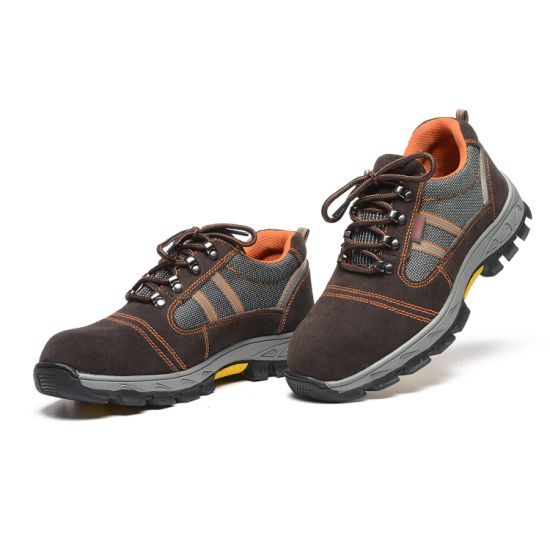 Embossed Leather Basic Style Safety Shoes
