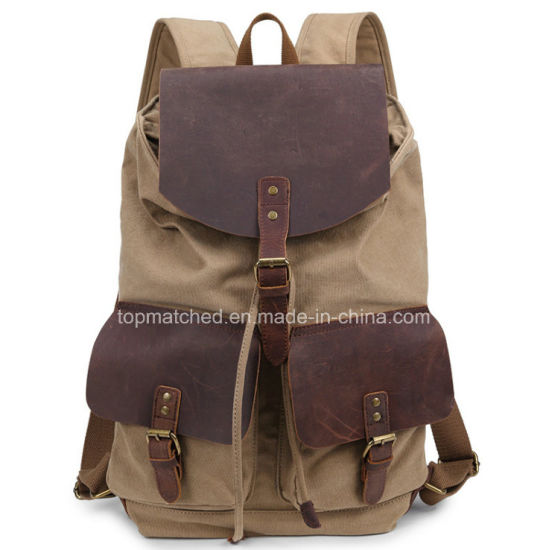 Canvas Backpack Boys and Girls Backpack Retro Outdoor Travel Backpack Canvas Crazy Horse Leather Laptop Backpack pictures & photos