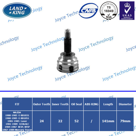 Factory Auto Parts Outer CV Joints Mz-001 for Mazda E-Bd1031/E-Bd1051/Laser/323&Glc/Bf3p/Bf5p/Mercury Tracer