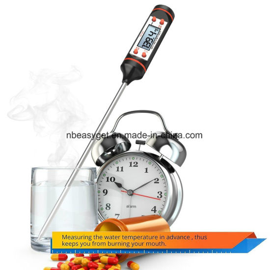 Meat Thermometer, Airsspu Stainless Instant Read Digital Cooking Thermometer for Food, Meat, Candy and Bath Water with Long Probe, LCD Screen pictures & photos