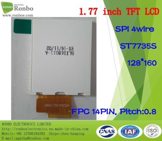 "1.77"" 128X160 Spi TFT LCD Module, St7735s, 14pin for Doorbell, Medical pictures & photos"