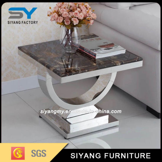 American Design Stainless Steel U Shape MDF Sofa End Table