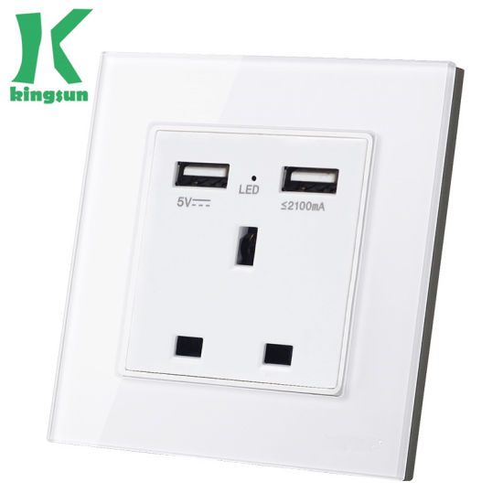 Home UK Standard Glass Panel 13A Socket with 2USB Switch pictures & photos