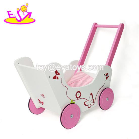 New Design Lovely Pink Wooden Doll Stroller for Baby Push Along W16e085