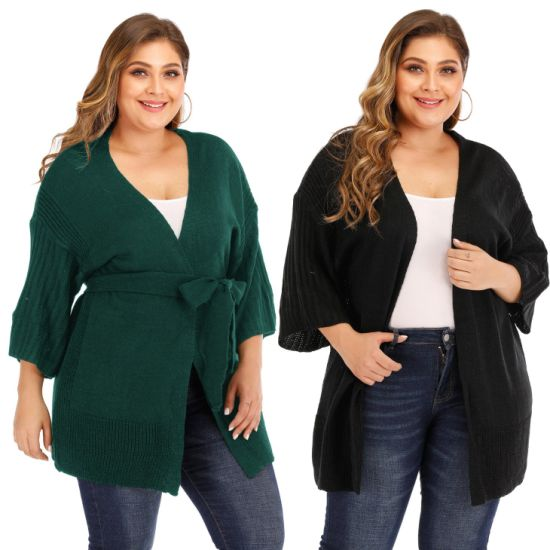 Plussize Women V Neck Knit Sweater Loose Cardigan Casual Sweaters