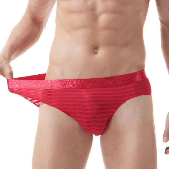 New Mens Striped Mesh Sexy Breathable Briefs Mens Underwear