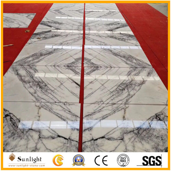 Popular Book Match Polishing White Milas Lilac Marble Tiles for Wall/Floor