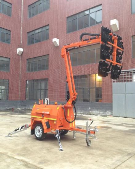 9m Foldable Lighting Tower Flood Lamp Generator LED Light Tower Trailer Single Mining Kubota or Perkins pictures & photos