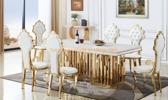 Modern Home Restaurant Furniture Set, White And Gold Dining Room Set