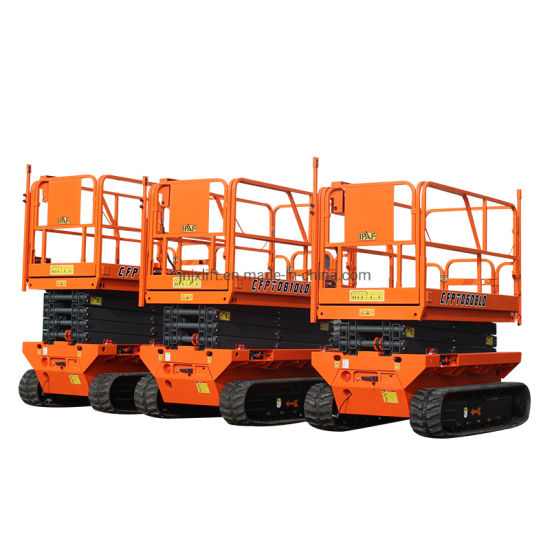En280 Approved 6m 8m 10m 12m Crawler Self Propelled Automatic Aerial Work Vertical Platform Scissor Lifts on Rough Terrian