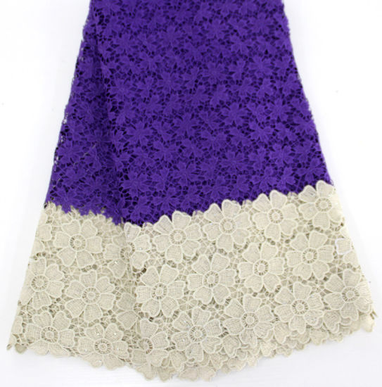 Wholesale Flower Nigerian African Embroidery Lace Fabric with Stones for Lady
