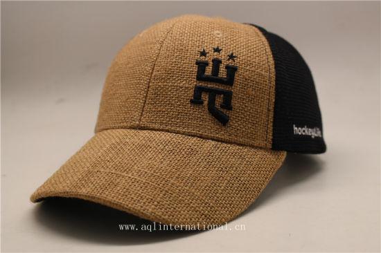 China Custom 6 Panels 3D Embroidery Linen Hemp Mesh Trucker Cap ... 59b055ca6f40