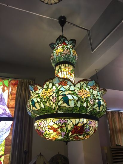 Vintage Handmade Stained Glass Hotel Decorative Pendant Lamp Tiffany Lamp