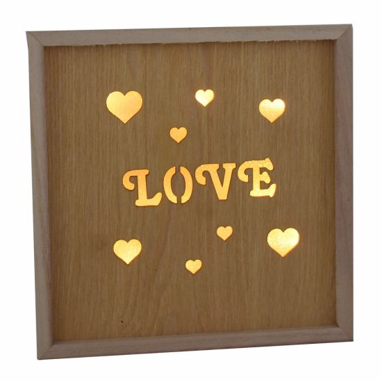 Wooden Die Cut LED Light Love for Home Decoration