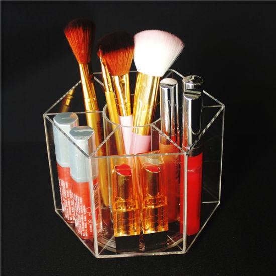 Hexagont Cosmetics Display Makeup Organizer Brush Pencil Acrylic Holder