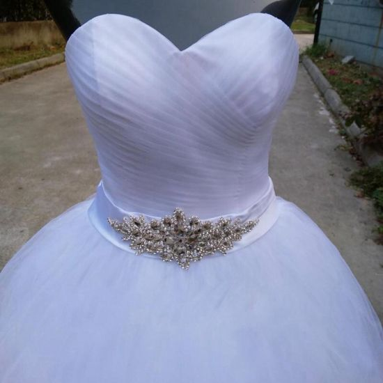 Simple Design Sweetheart Sleeveless White Ball Gowns Wedding Dress China Dress And Wedding Dress Price Made In China Com
