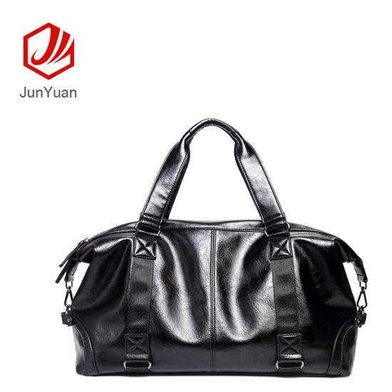 Junyuan 2019 PU Leather Custom Folding Mens Travel Bag Custom Duffle Bags
