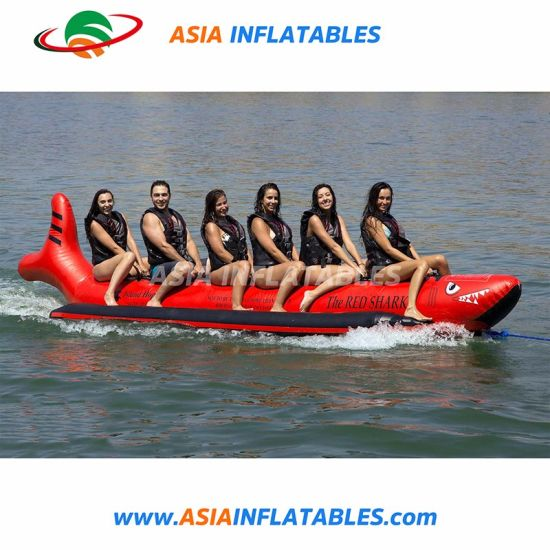10 Riders Red Shark Towable Banana Boat Inflatable Shark Boat pictures & photos
