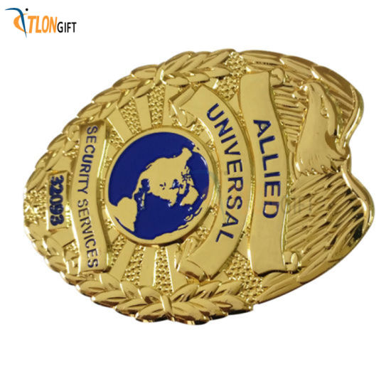 Customized Military Badges of High-Quality Gold and Gold Police Badge with Pin