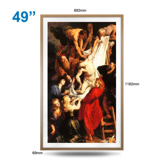 Multi-Color Optional 49-Inch Solid Wood Wall-Mounted High-Definition Anti-Glare LCD Digital Photo Frame