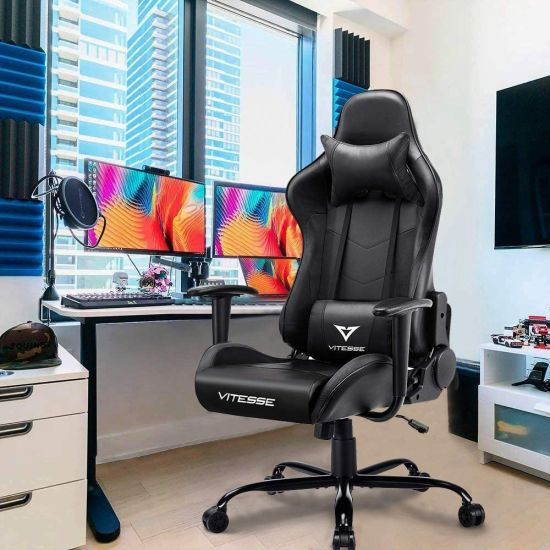 Gaming Chair Video Gaming Chair Ergonomic Computer Desk Chair High Back Racing Style Comfortable Chair Swivel Executive Leather Chair with Lumb