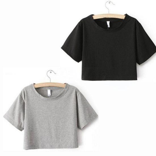 Patata fritta notifica Vai avanti  China Custom Girl Crew Neck Casual Plain Black/White T-Shirt Women Sexy T  Shirt Crop Top - China Cotton Tshirt and Plain T-Shirt price