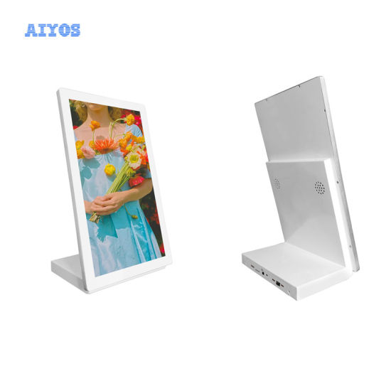 """15.6"""" White Color Metal Casing Android Table Stand Menu Tablet"""