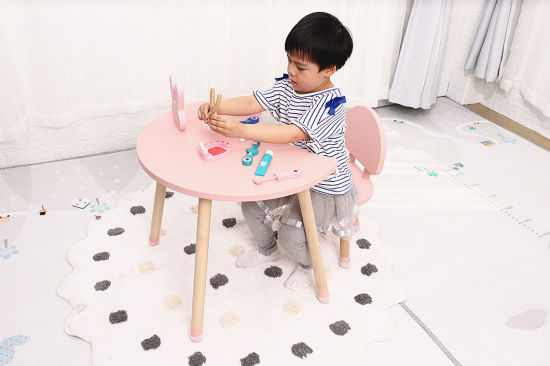Nordic Style Star and Moon Shape Wooden Children Study Table and Chair Kindergarten Furniture