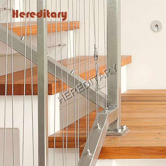 Rope Railing Stairs Wooden Handrail Stairs Wooden Pedal Straight Stairs