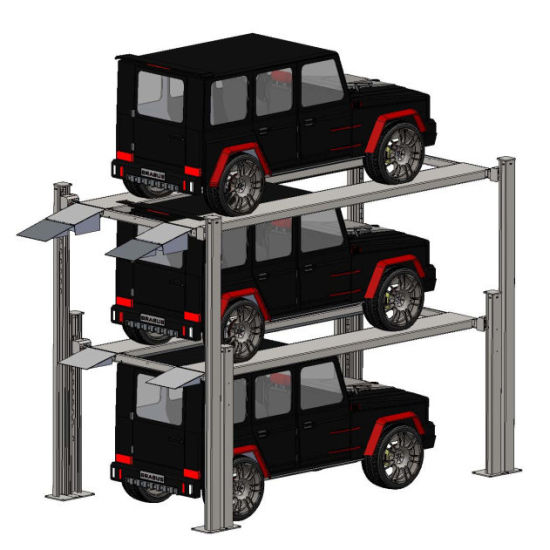 4 Post Hydraulic Triple Level Car Parking Lift with CE