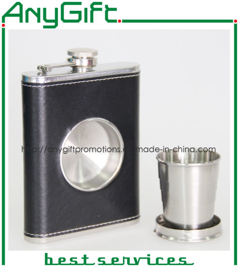 Stainless Hip Flask with Folding Glass with Customized Logo 02 pictures & photos
