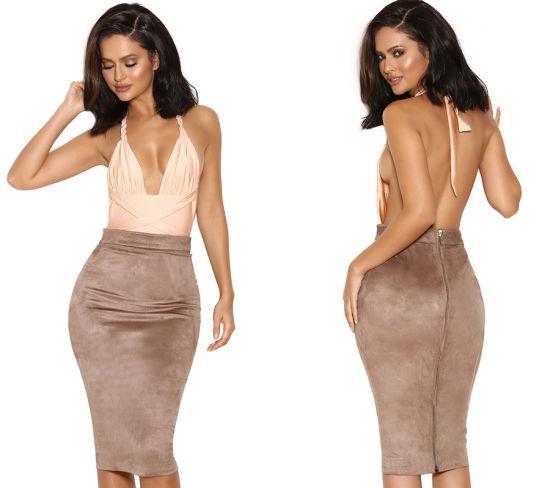 Fashion Deer Velvet Skirt Dress High Waist Sexy Girl Pencil Skirt