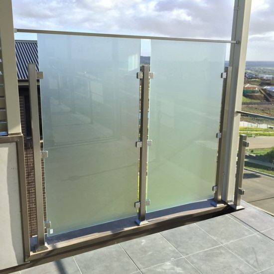 China Frosted Glass Privacy Screens Stainless Steel Balcony Glass