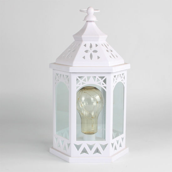 Wholesale Custom Home and Party Indoor Decor Vintage Color Bronze Plastic Lantern with LED Bulb