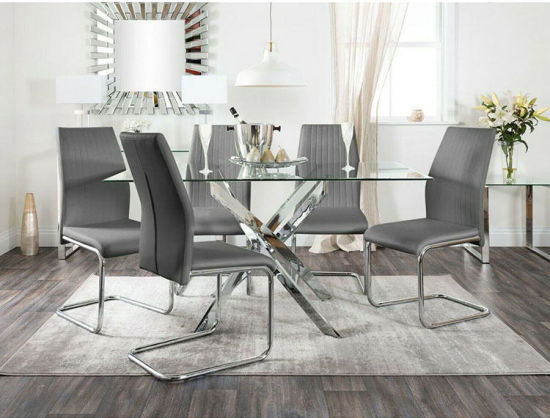 Factory Wholesale Dining Room Furniture Modern Minimalist Glass Complete Set of Dining Table