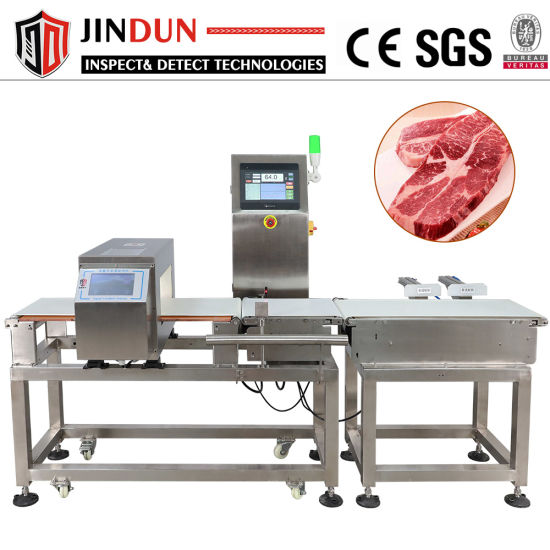 Conveyor Belt Metal Detector Combined Weight Checking Machine with Auto Pusher