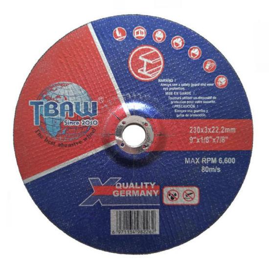 T42 230X3X22.2mm Depressed Center Tbaw Cutting Wheels for Metal Inox