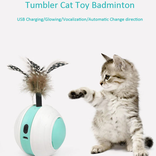 Tumbler Self-Help Running Balance Car Cat Feather Stick Pets Toys with Wheel Toy Pet Products