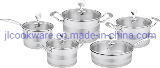 10 PCS Dutch Oven Stainless Steel Cookware Set with Lid