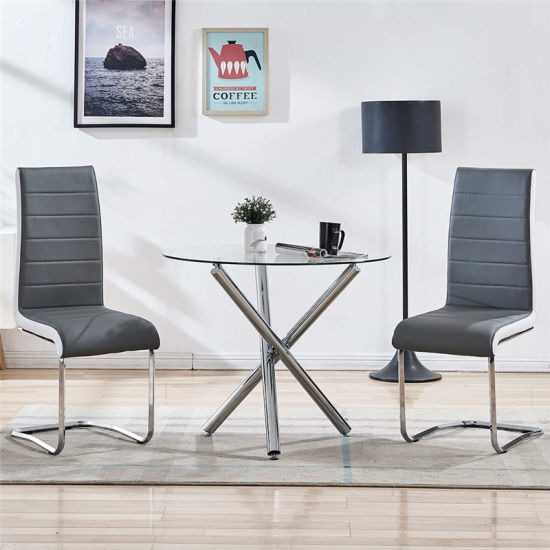 Clear Round Tempered Glass Top Stainless Steel Chromed Iron Leg Customized Modern Style Dinner Restaurant Patio Home Furniture Table China Wholesale