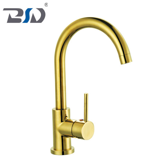 China Quality Exquisite Copper Single Handle Sink Faucet Golden Kitchen Faucet China Chrome Kitchen Faucet Mixer Brass Kitchen Mixer