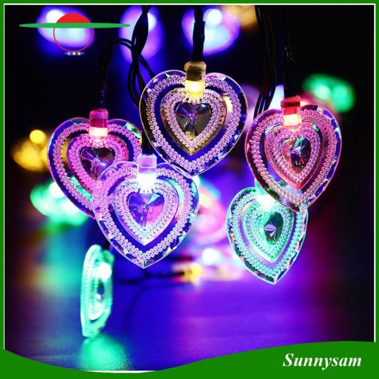 heart shaped solar led lights fairy string light for christmas outdoor garden party decoration